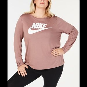 Nike Plus Size Long Sleeve dusty rose pink top